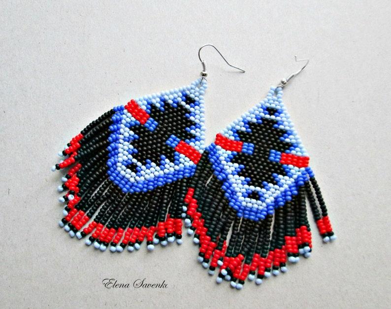 Red,blue.blek,Bead Earrings Native American Style Beadwork Seed Bead Earrings