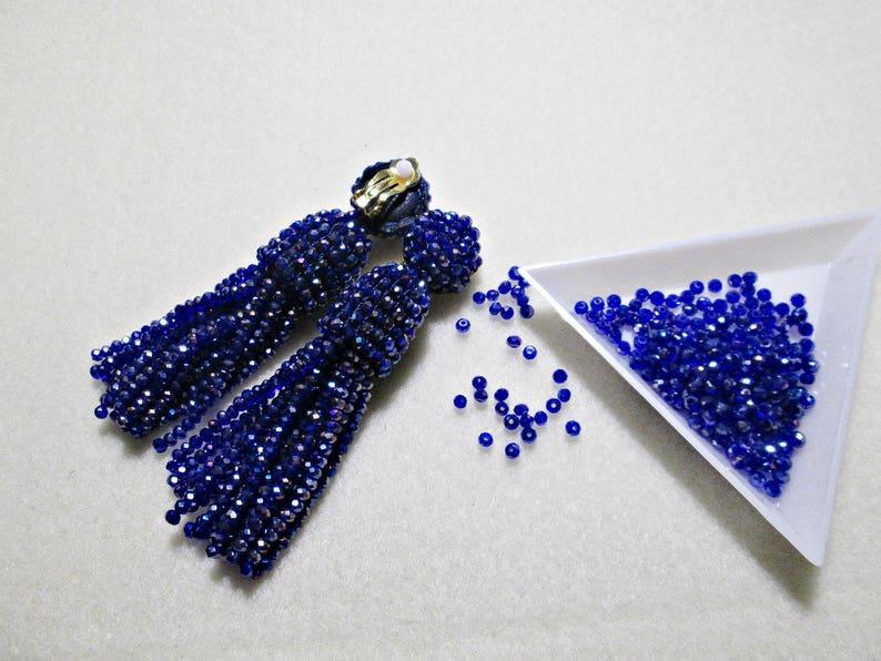 BlackDark RedSilverdeep blueAustrian crystal beads tasselShort-tasselhandmadeoscar de la rentaclip on earringsbeading dangle earring