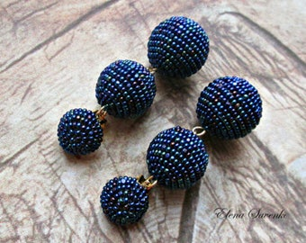 Peacock NAVY BLUE Ball drop earrings, Stud beads Dangle Earrings with three crochet balls, clip on earrings, ball drop ear/Bon Bon Earrings