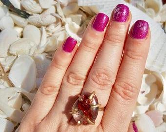 Garden Quartz Ring, Boho Ring, Phantom Quartz Lodolite Jewelry, Healing Crystal Quartz Ring, Boho Jewelry, Crystal Quartz Ring, Gift for Her