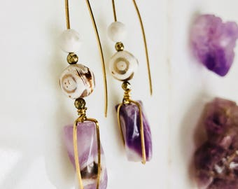 Chevron Amethyst Earrings, Gold Earrings, February Birthstone, Natural Stone Earrings, Purple Earrings, Boho Wire Wrapped Jewelry