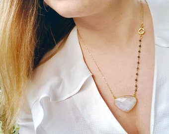Rainbow Moonstone Necklace, Gold Filled Necklace, Pyrite Rosary Necklace, June Birthstone, Moonstone Jewelry, Large Bezel Pendant