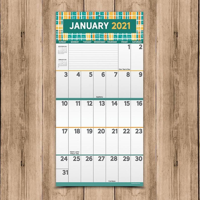2021 Big Print Wall Calendar 12x12 Large Grid Planning on ...