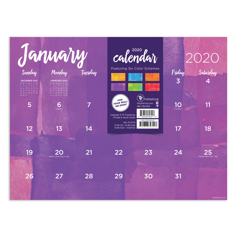Uf Calendar 2020.2020 Watercolor Mini Desk Pad Calendar