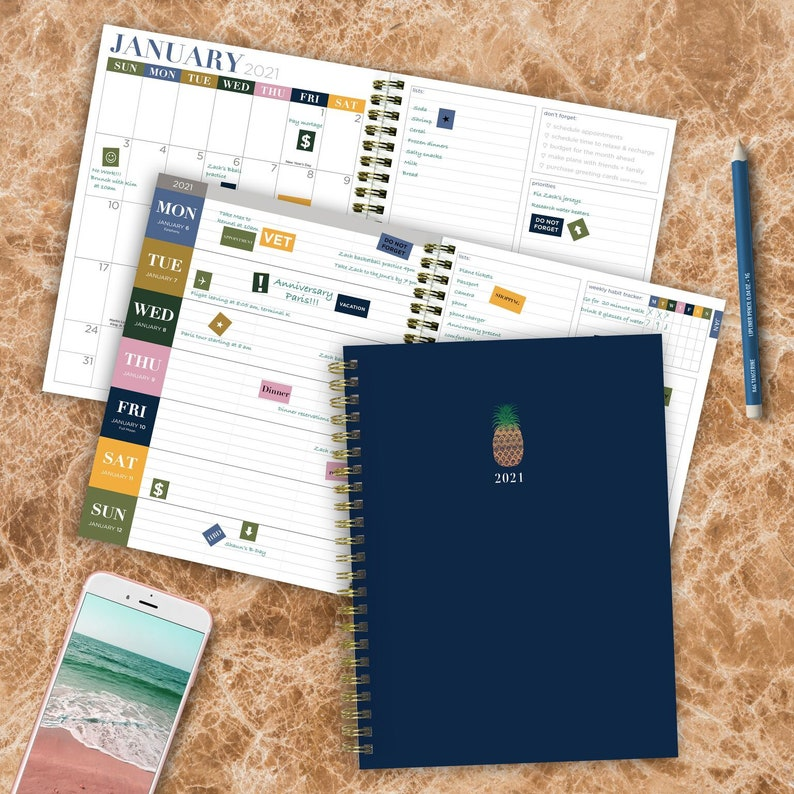 2021 Navy Pineapple Medium Daily Weekly Monthly Spiral Planner image 0