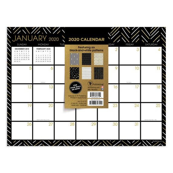 Games With Gold January 2020.2020 Black White And Gold Mini Desk Pad Calendar