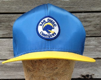 70s/80s vintage San Diego Chargers Snapback Hat - AJD Supersatin - Large - Rayon - Los Angeles