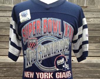 1c400b0bb Vintage 1991 NEW YORK GIANTS Super Bowl Champions T Shirt by Logo 7 -  Medium - striped sleeves
