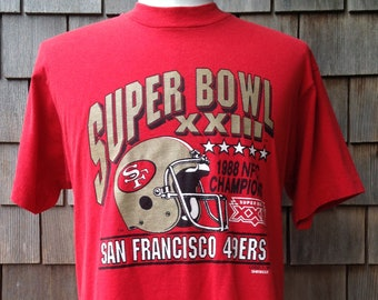 80s vintage San Francisco 49ers Super Bowl XXIII T shirt - 1988 NFC  Champions - slim Large - Forty Niners a09ad4479