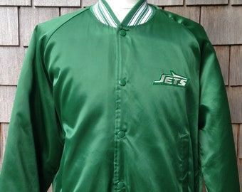 e921d835b82 80s vintage New York Jets satin snap jacket / Chalk Line / Medium