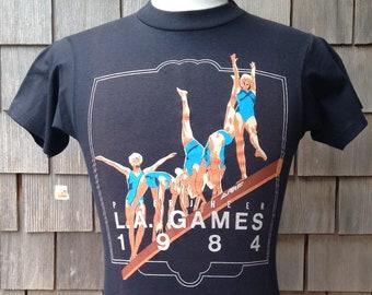 0987bf6342c Rare vintage deadstock 1984 Summer Olympic Games USA Gymnastics T shirt -  XS - Los Angeles Peter J Heer