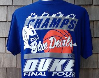 vintage Duke Blue Devils 1991 National Champs T shirt   Large   University  NCAA basketball champions bfd96fc18