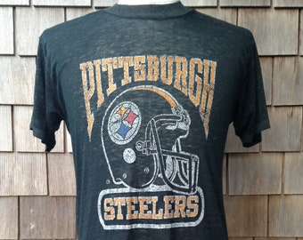 80s vintage Pittsburgh Steelers T shirt   paper thin   Small - Medium a62320c04
