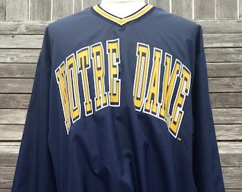 Vintage 90s NOTRE DAME Fighting Irish Pullover Jacket - XL - University - light jacket - windbreaker