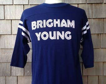80s vintage Brigham Young University T shirt - slim Large - very soft - BYU Cougars - half sleeve