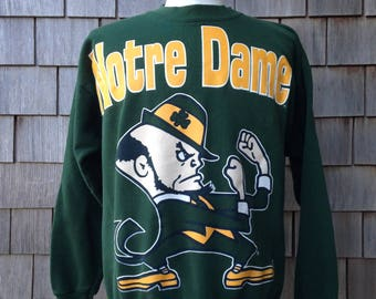 90s vintage Notre Dame Fighting Irish sweatshirt - all over print - Medium - University