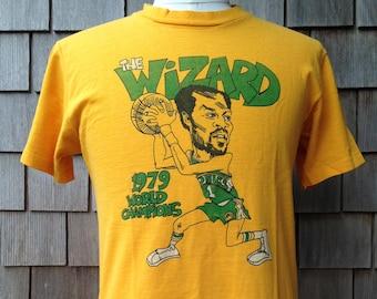 "Vintage 1979 Gus Williams ""The Wizard"" Seattle Supersonics World Champions T Shirt - Medium - Sonics NBA Champions"