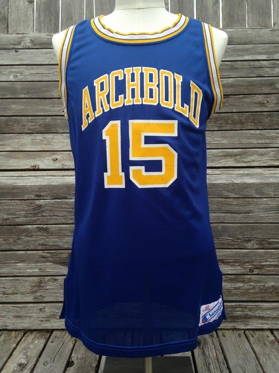 Vintage 80s 90s Archbold Blue Streaks Basketball Jersey by Champion Size 40 Medium Student section Archbold High School