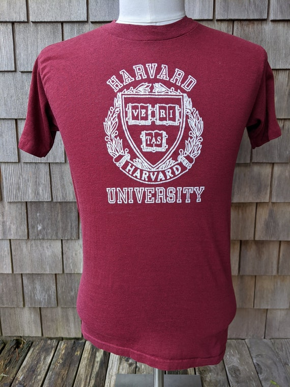 80s vintage Harvard University Crimson T shirt / … - image 1