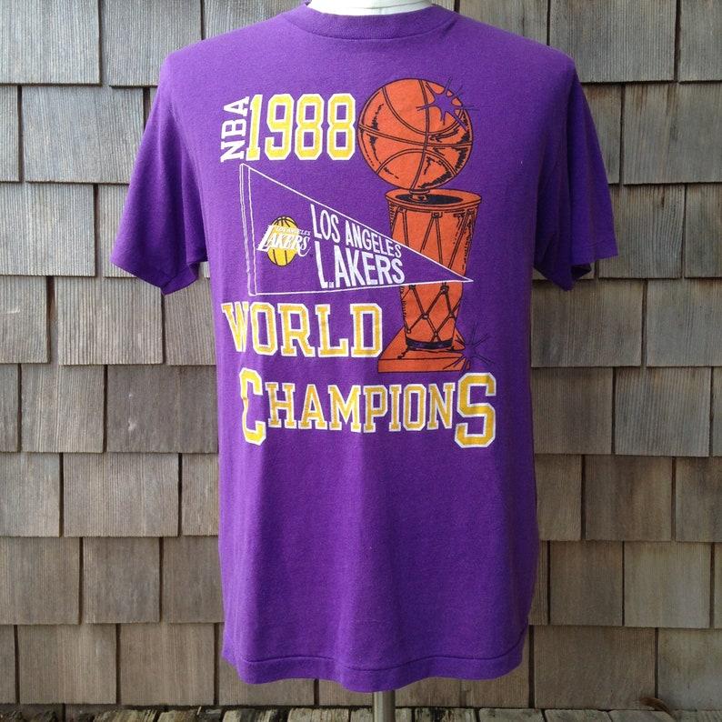 0cb7e393711 Vintage Los Angeles Lakers 1988 World Champions T shirt /   Etsy