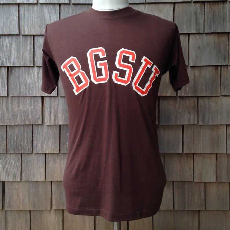 promo code 975dc 63104 80s vintage BGSU Bowling Green State University Falcons T shirt - Small -  Velva Sheen
