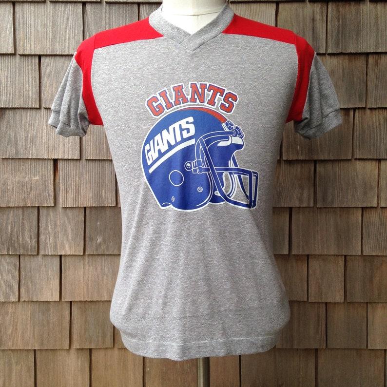 9982d90a6 70s/80s vintage New York Giants iron on v-neck T shirt | Etsy
