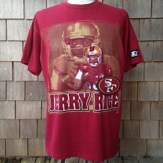 huge selection of 733c0 bba15 90s vintage Jerry Rice San Francisco 49ers T shirt / Starter / Large