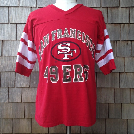 80s vintage San Francisco 49ers v neck half sleeve T shirt by  e3e08a7b9