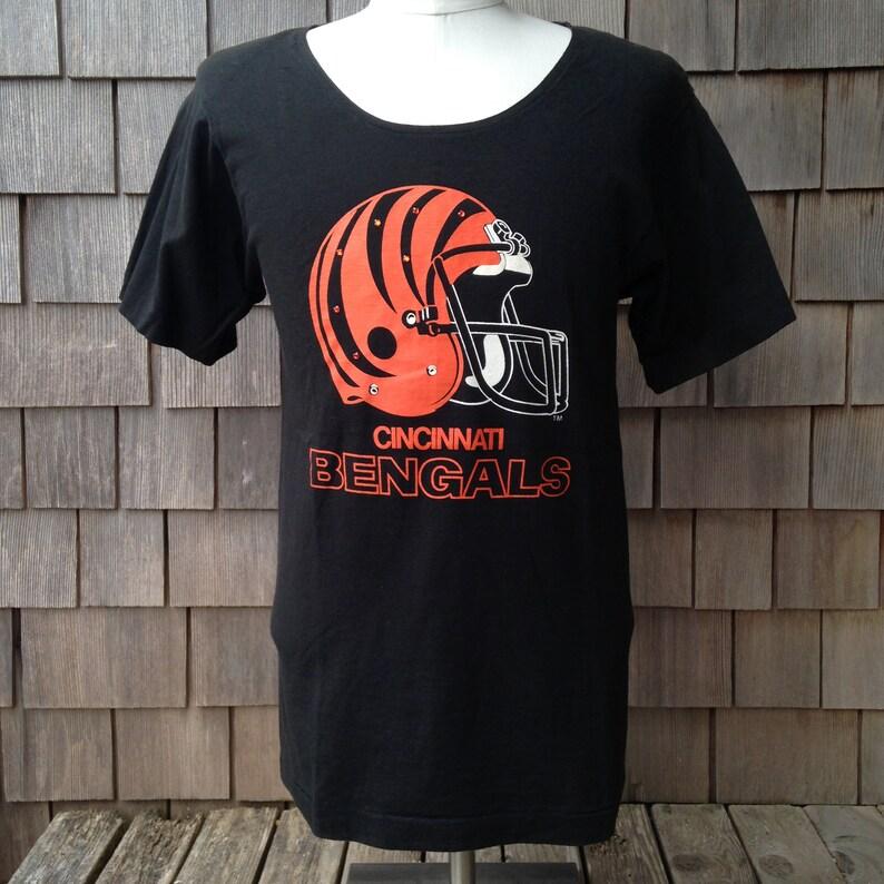 bd49db4b Rare 80s vintage deadstock Cincinnati Bengals scoop neck T shirt - Medium -  new old stock - women's blouse - 1980s NFL football