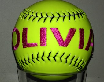 Embroidered Softball - Personalized Softball - Softball Team Gifts - MVP Gifts - Coach Gifts