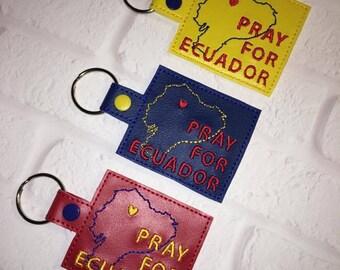 Ecuador Key Chain - Pray for Ecuador - Mission Trip - 2017 - Ecuador Flag - Red Vinyl - Blue Vinyl - Yellow Vinyl - First Baptist Church