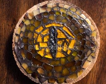'Eye See You' Macro snake eye mosaic on a wood slice