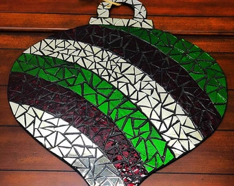 Large Ornament Christmas Stained Glass Mosaic Door Hanger