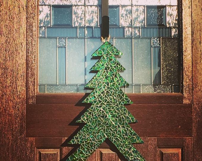Christmas Tree Decor Glass Mosaic Door Hanger FREE SHIPPING
