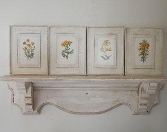 Antique Wildflower Botanical Prints Set of Four,  vintage botanical prints, botanical prints, farmhouse decor, garden prints,flower