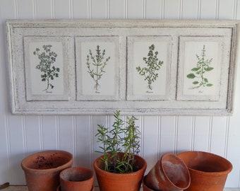 Botanical Herb Prints on Wood vintage botanical print, botanical prints, farmhouse decor, garden print, herb prints