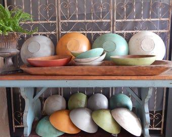 PAINTED WOODEN BOWLS/ 10 inch bowl /  Farmhouse Decor/ Wood Bowls/ Distressed Wooden Bowls/ Vintage Wood Bowls/ Primitive Wooden Bowls
