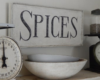 SPICES SIGN/farmhouse signs,vintage style signs,hand made signs, hand painted signs, kitchen signs,wooden signs, pantry signs