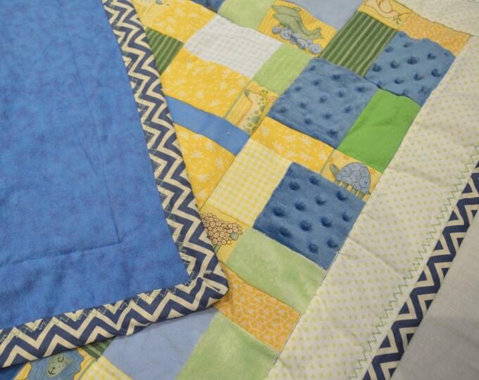 Baby Blanket Quilt Noah's Ark Blue