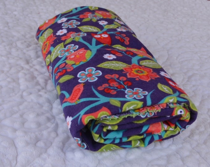 Owl Flannel Receiving Blanket, Nursery Swaddle, Baby Blanket, Colorful Owls - Optional: 2 Burp clothes
