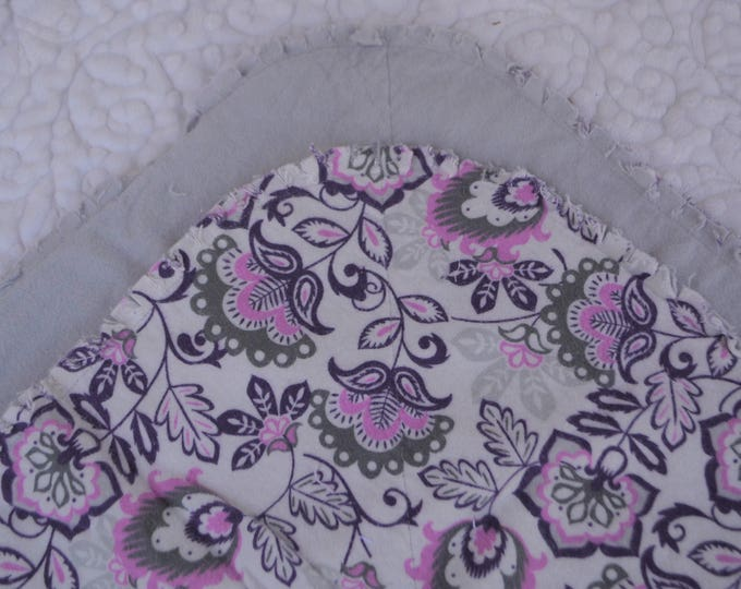 Purple and Pink Flowers Flannel Receiving Blanket, Nursery Swaddle, Baby Blanket, Flowers with Purple and Pink - Optional: 2 Burp clothes