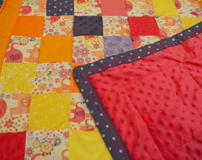 Baby Quilt Blanket with Texture, Elephants, pink, purple, orange, yellow