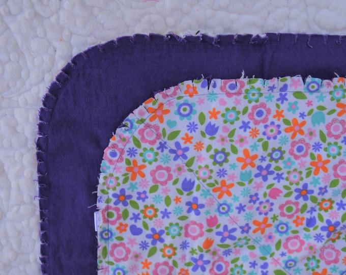 Flower Flannel Receiving Blanket, Nursery Swaddle, Baby Blanket, Flowers with Purple - Optional: 2 Burp clothes
