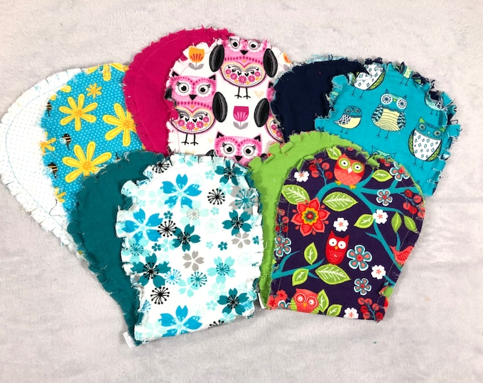 Owl Flannel Burp Cloths Set of 5, Hourglass Burp Cloths - Free Shipping!