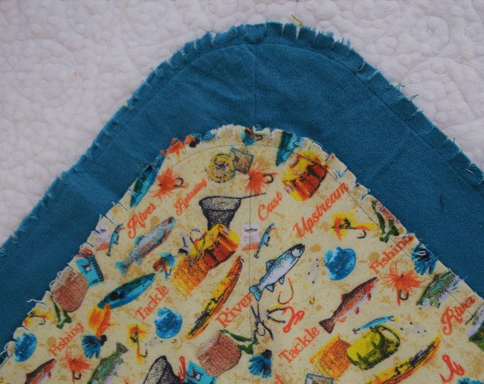 Fish Flannel Receiving Blanket, Nursery Swaddle, Baby Blanket, Fish with Blue - Optional: 2 Burp clothes