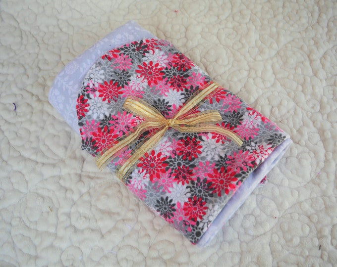 Flower Flannel Receiving Blanket, Nursery Swaddle, Baby Blanket, Pink & Gray Flowers - Optional: 2 Burp clothes