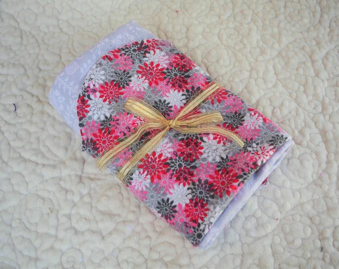 Flower Flannel Receiving Blanket, Nursery Swaddle, Baby Blanket, Pink & Gray Flowers - Optional: 2 Burp clothes