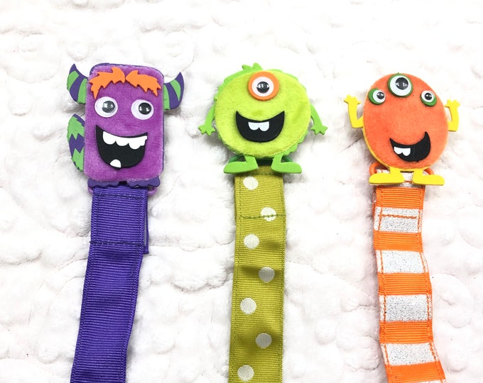 Monster Pacifier Clip, Binky Holder, Paci Clip - Free Shipping