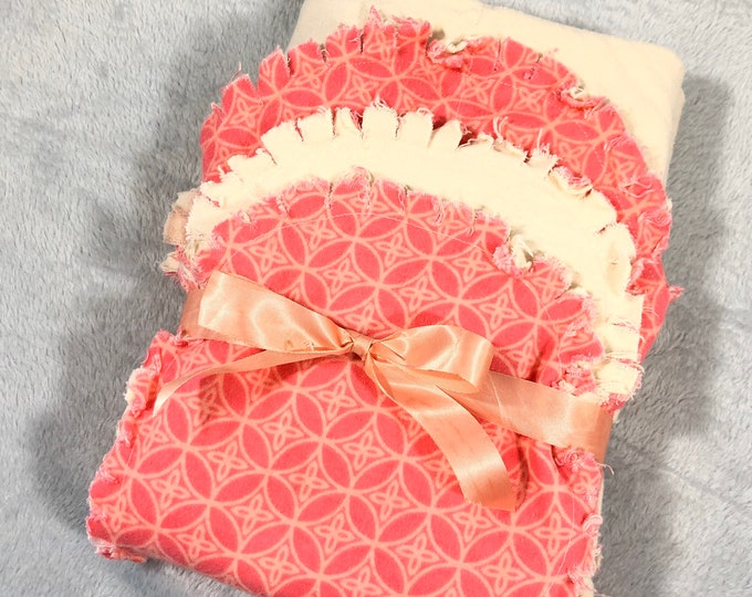 Pink and Cream Flannel Receiving Blanket, Nursery Swaddle, Baby Blanket - Optional: 2 Burp clothes