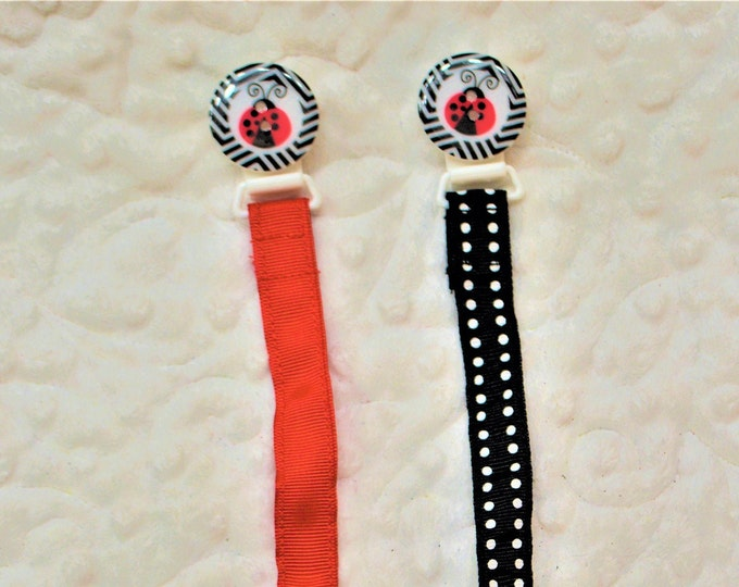 Lady Bug Pacifier Clip, Binky Clip, Paci Clip -- Free Shipping!!